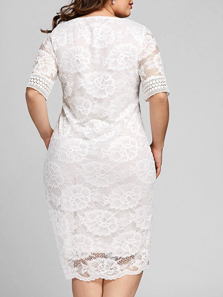 V-Neck  Decorative Lace  Hollow Out Plain Plus Size Bodycon Dresses