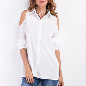 Fashion Pure Color Strapless Shoulder Blouse