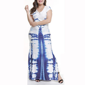 Round Neck Side Slit Ikat Plus Size Midi & Maxi Dress