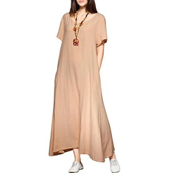 Women Plus Size Basic Casual Flare Sleeve Maxi Dress
