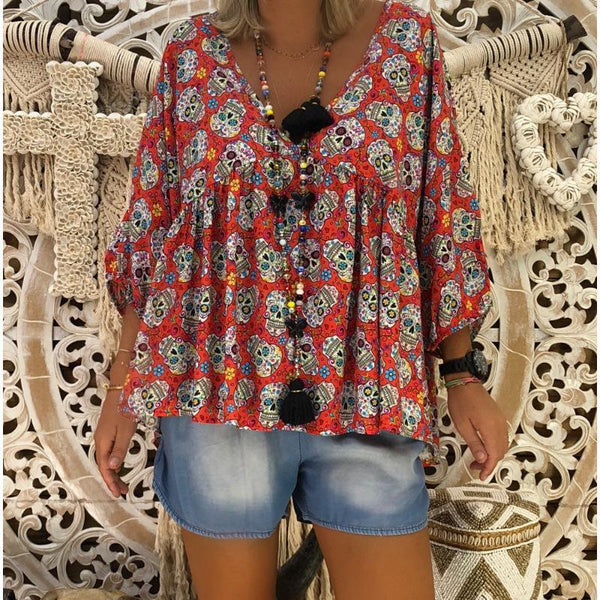 V-Neck Loose Long Sleeve Printed Blouse