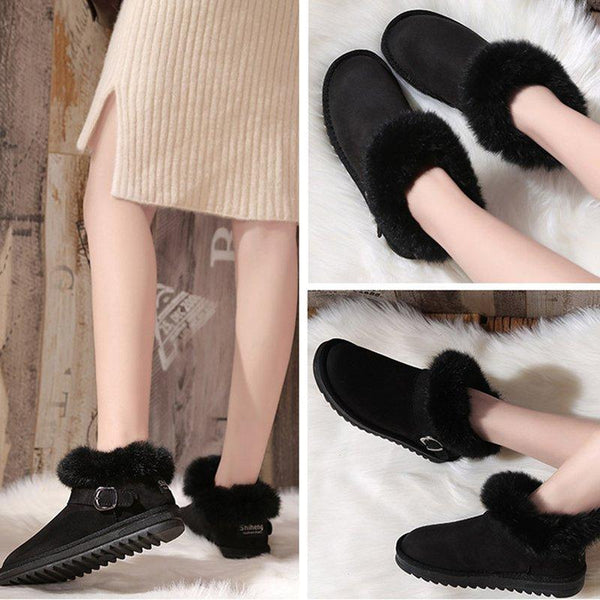 Womens Flat Heel Artificial Suede Ankle Snow Boots