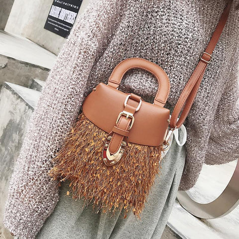 Fashion Casual Leather Fringe Buckle Plain One Shoulder Hand Bag