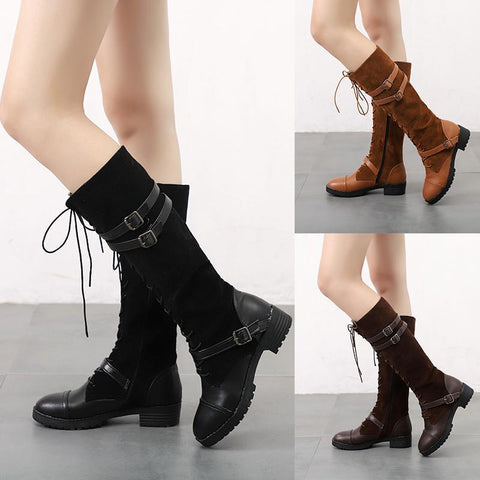 Stylish Women Lace-Up Side Zipper Knee Boots