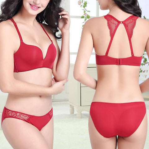 Sexy Smooth Breathable No Steel Ring Gathers Beauty Back Seamless Bra Set