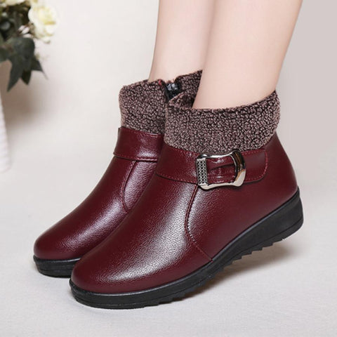 Plain  Round Toe  Casual  Short Flat Boots