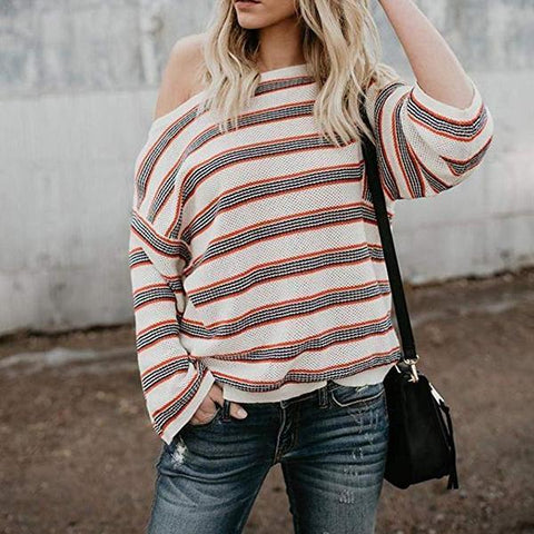 Oversize Stripe Printed Long Sleeve Sweater