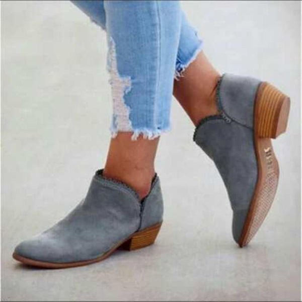 Chic Casual Openwork Low Heel Ankle Boots