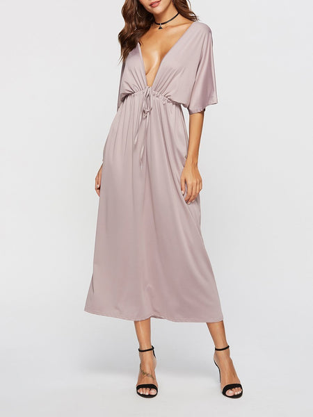 Fashion V Neck Slit Big Size Maxi Dresses