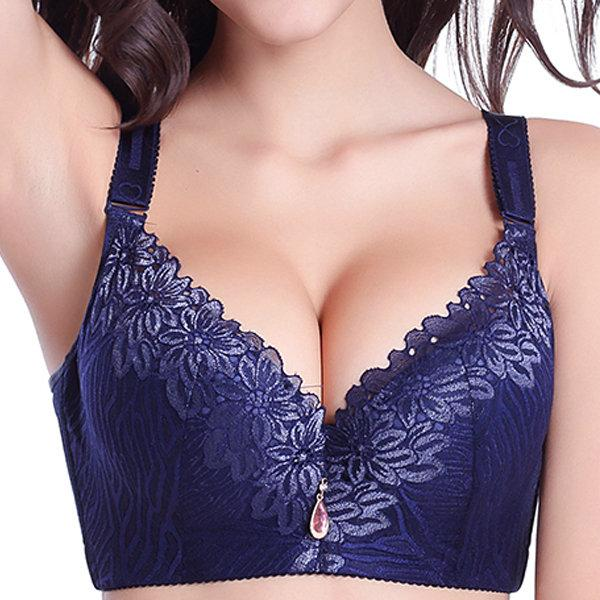 Large Size Bra Wholesale Thin Mold Cup Full Cup Gather Deep V Sexy Adjustable Comfort Bra To Receive The Breast Bra