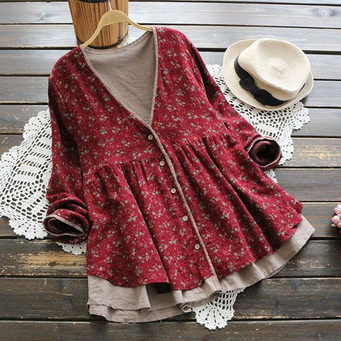 Large Size Autumn Women's Japanese Retro Long Lace Printed Fake Two V-Neck Shirt Cardigan