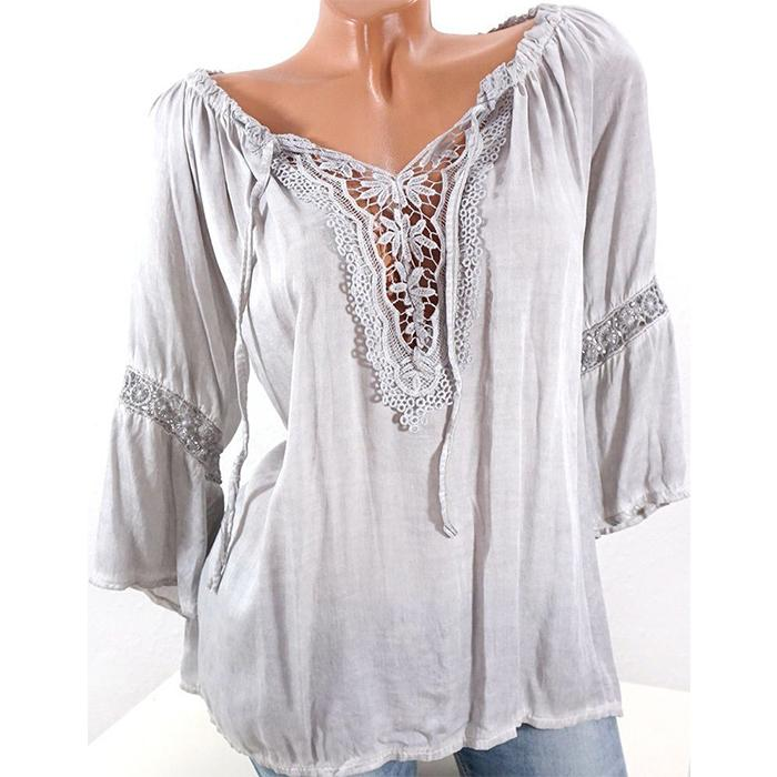 Pure color lace splicing loose shirt