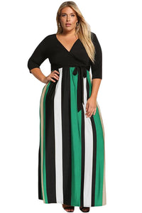 Green Color Blocked Skirt Plus Size Maxi Dress