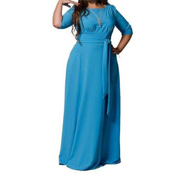 Fashion Belt Large Size Solid Color Dress