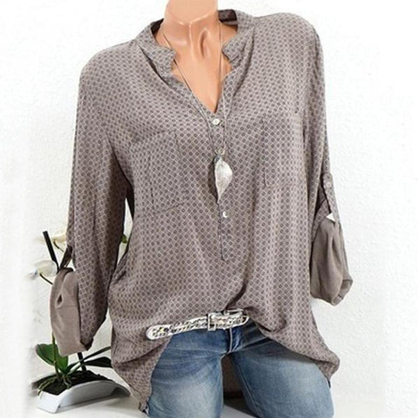 Dot V-Neck Pocket Long-Sleeved Shirt