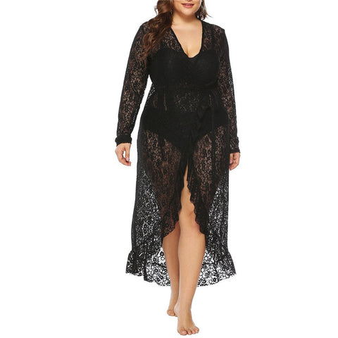 Sexy Deep V Neck Lace Large Size Cardigan