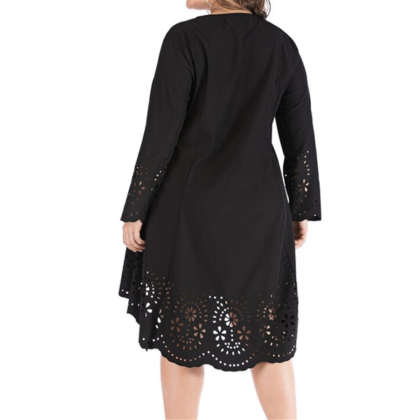 Fashion Long Sleeve Hollow Out Large Size Dresses