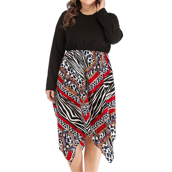 Fashion High Waist Printed Spliced Dresses