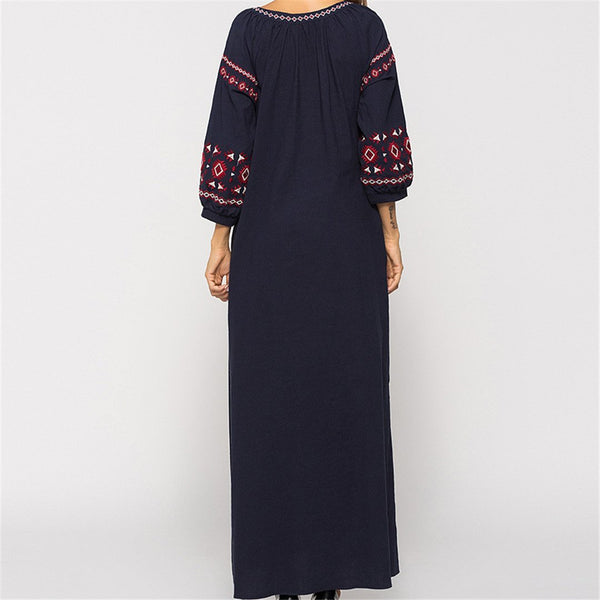 Fashion Embroidered Tasseled Long Sleeved Dress