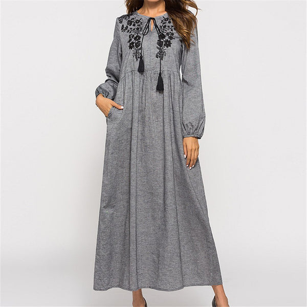 Fashion Long Sleeved Embroidered Fringed Dress