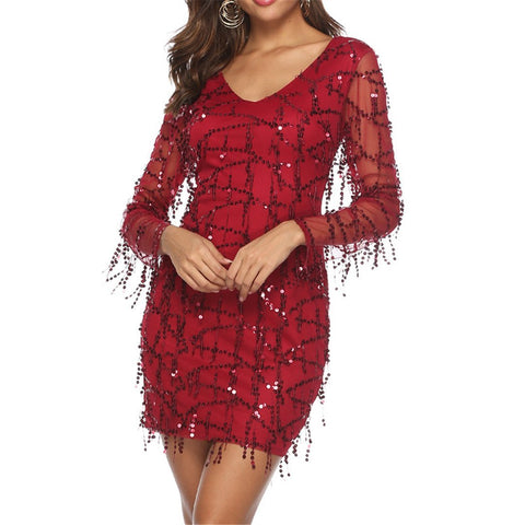 Sexy Mesh Perspective Fringed Sequin Mini Dress