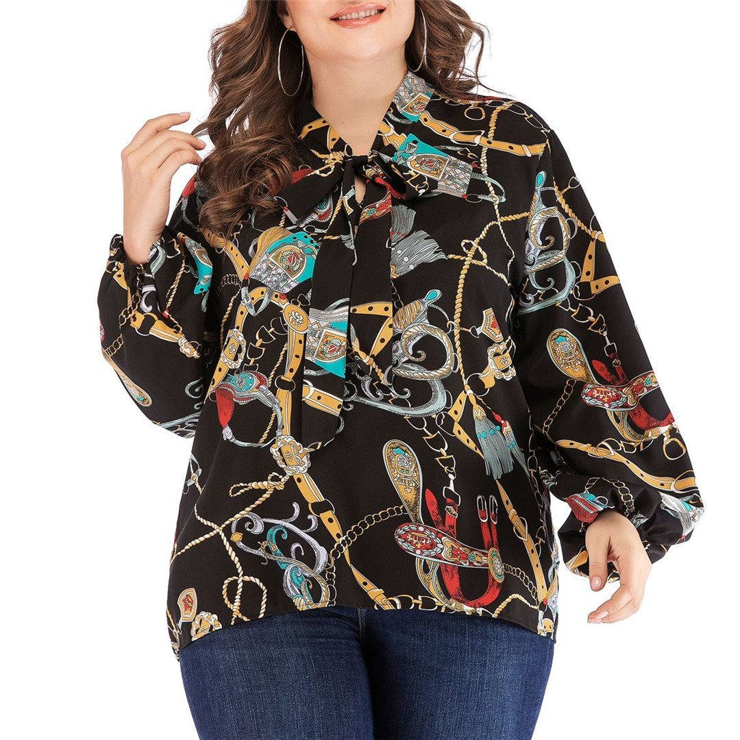 Fashion Chiffon Long Sleeve Printed Shirt