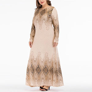 Casual Plus Size   National Style Printing Maxi Dresses