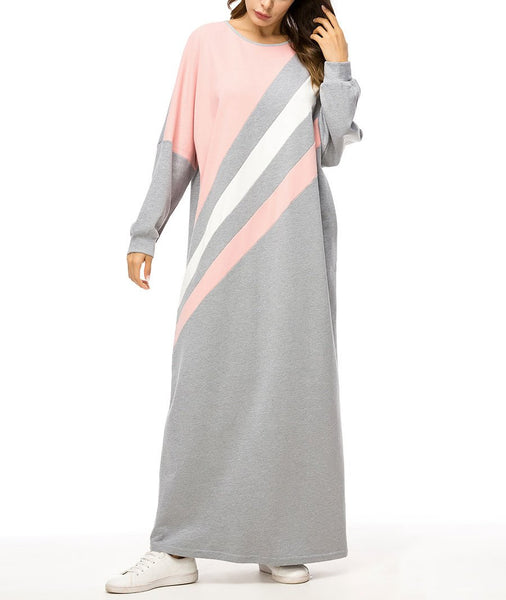 Casual Plus Size   Contrast Color Stitching Long Sleeve Maxi Dresses