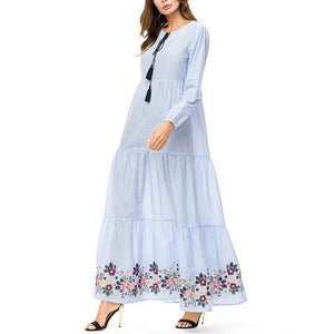 Casual Plus Size   National Style Of Embroidery Long Sleeve Loose Maxi Dresses