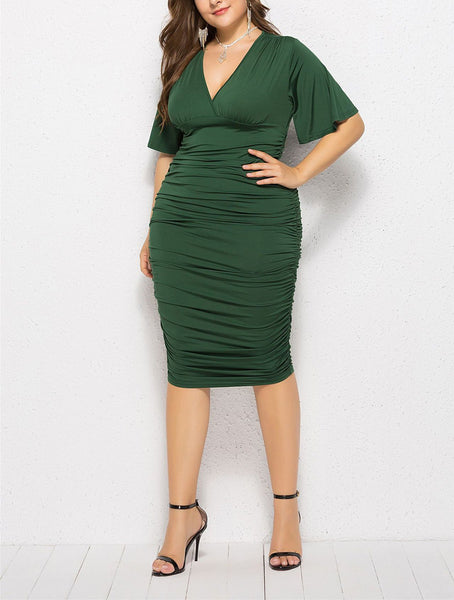 Casual Plus Size Sexy   V Neck Pure Color Mini Dresses