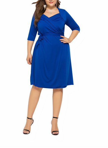Casual Plus Size  V Neck Pure Color Mini Dresses
