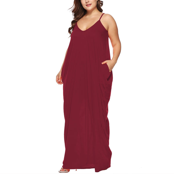 Casual Plus Size Sexy V Neck Sling Maxi Dresses