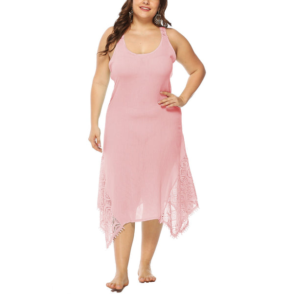 Casual Plus Size Sexy   Backless Lace Splicing Maxi Dresses