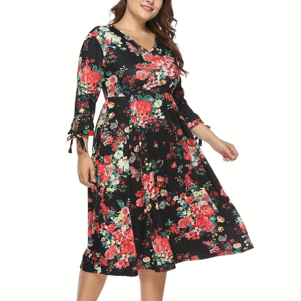 Casual Plus Size V Neck   Floral Print Maxi Dresses