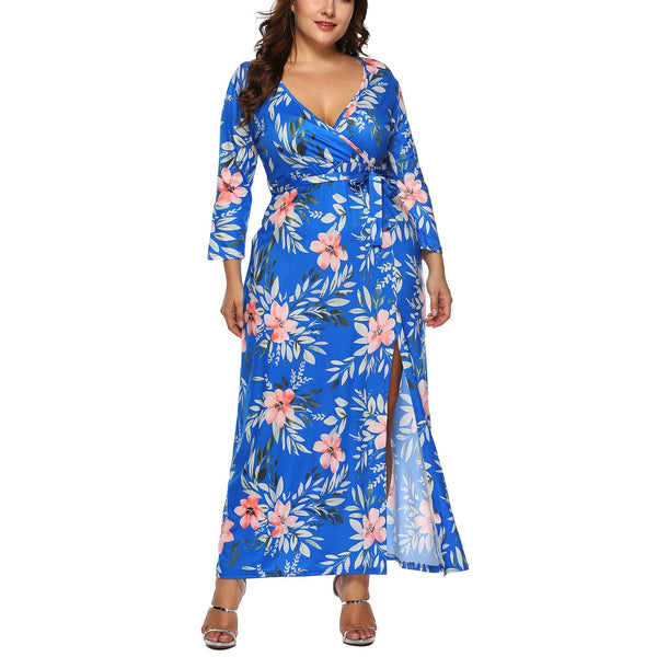 Casual Plus Size Sexy   V Neck Long Sleeve Floral Print Maxi Dresses