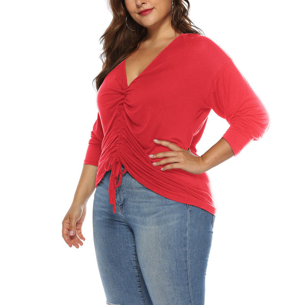 Casual Plus Size Sexy   V Neck Loose Frenulum T-Shirt Blouse
