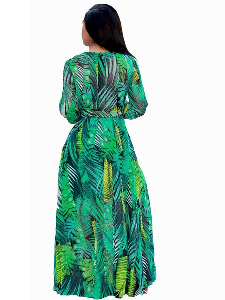 Fashion Printed Colour Chiffon Big Size Maxi Dresses