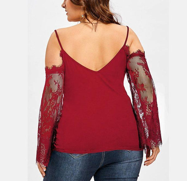 Casual Plus Size Sexy   Off The Shoulder Lace Splicing Shirt Blouse
