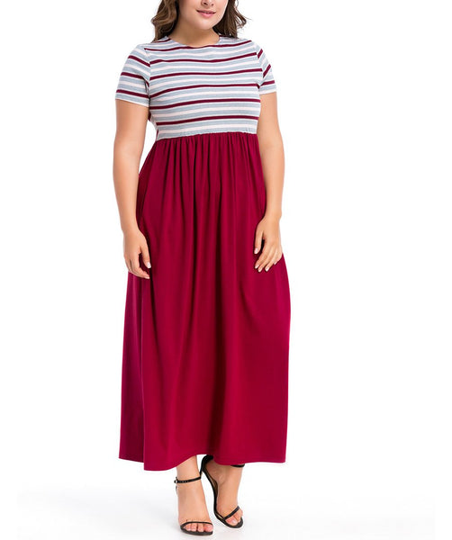 Casual Loose Plus Size   Short Sleeve Stripe Stitching Maxi Dresses