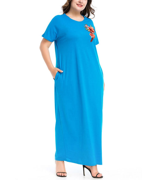 Casual Loose Plus Size   Short Sleeve Embroidery Maxi Dresses