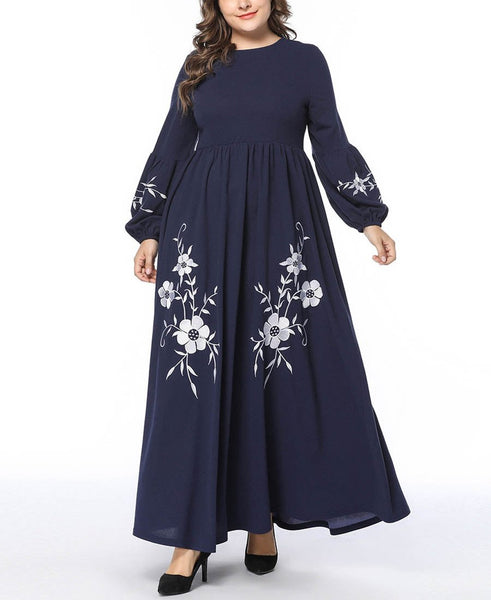 Casual Loose Plus Size   Long Sleeve Embroidery Maxi Dresses