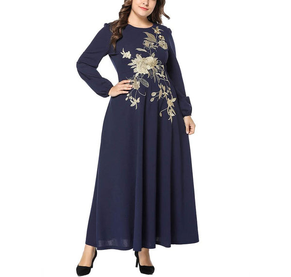 Casual Loose Plus Size   Embroidery Maxi Dresses
