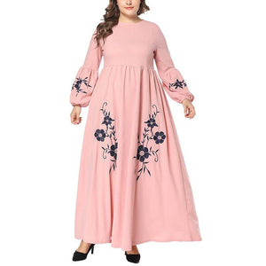 Casual Loose Plus Size  Long Sleeve Embroidery Pink Maxi Dresses