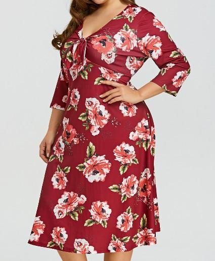 Casual Loose Plus Size   V Neck Floral Print Casual Dresses