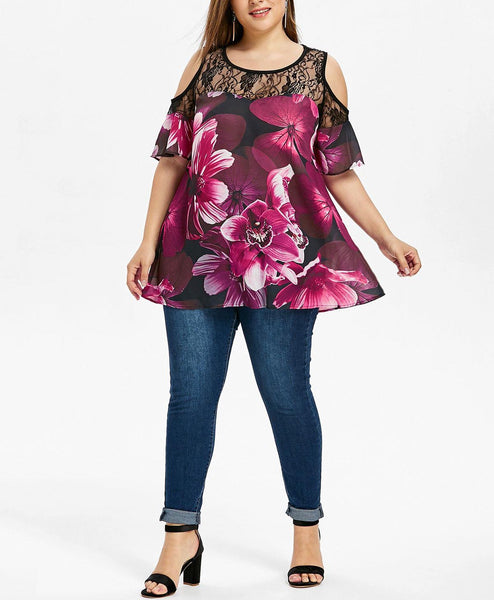 Casual Loose Plus Size Off The Shoulder Lace Splicing Floral Print Shirt Blouse