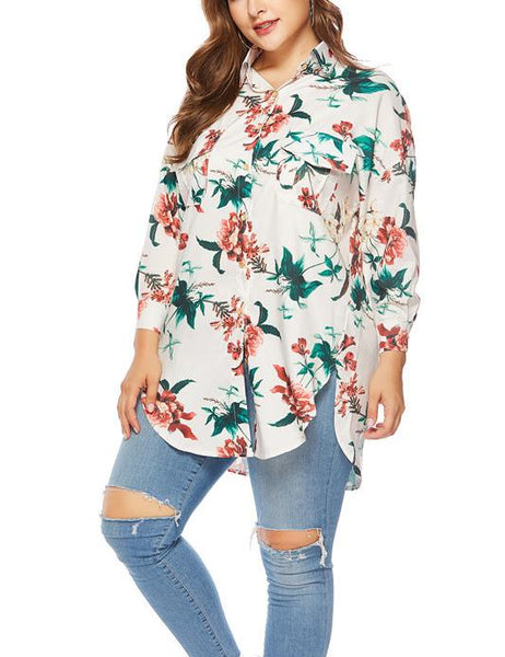 Casual Loose Plus Size   Long Sleeve Floral Print Shirt