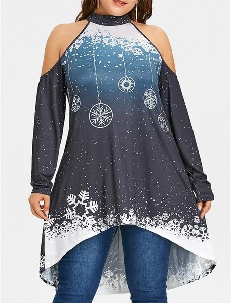 Casual Loose Plus Size   Sexy Off The Shoulder Snowflake Printing Mini Dresses