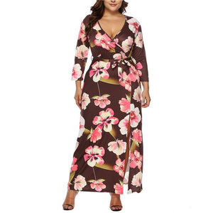 Plus-Size Deep V Irregular Seven-Sleeve Dresses