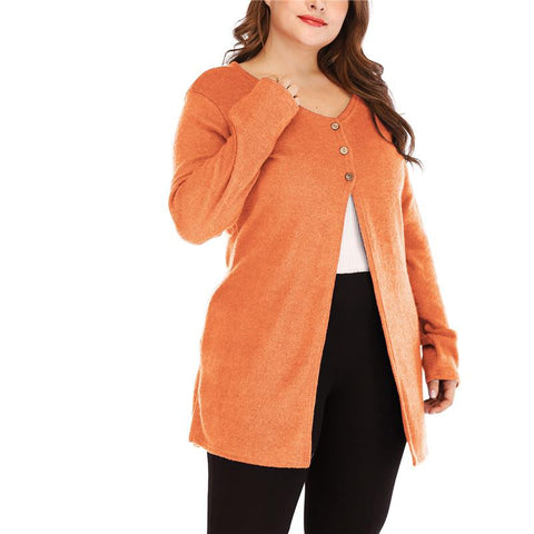 Plus-Size Open-Forked Casual Long-Sleeved Cardigan