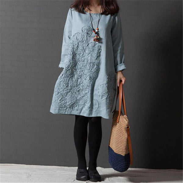 Plus-Size Loose Embroidered Cotton And Hemp Dress